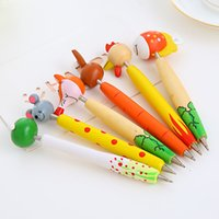 Wholesale Wood Ball Point Pens - Cartoon wooden animal ball-point pen elementary children to learn things Cute little gifts creative stationery