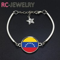 Wholesale Gift Football World Cup - 2017 Fashion Jewelry Venezuela football team Flag bracelet Hand-made World Cup Alloy bracelet Bracelet Bangle