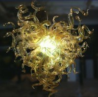 Wholesale Amber Champagne Glasses - 2017 New Arrival Amber Glass Art Chandeliers European Style Chihuly Hotel Decor Murano Glass Chandeliers with LED Light Source
