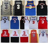 Wholesale Size Small Shirt - Throwback #3 Allen Jersey High Quality New Style Allen Iverson College shirts jersey size extra small