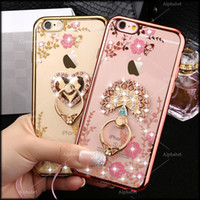 Wholesale Diamond Flower Phone Cases - Luxury Bling Diamond Ring Holder Phone Case Crystal TPU Flower Peacock Rhinestone Cover for Iphone 6 6s 6plus iphone 7 7 plus with Kickstand