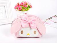 Wholesale melody case - Wholesale- Super Kawaii Bright PU Hello Kitty , Melody Rabbit Women Cosmetics BAG Coin Bag Handbag , 14*12CM Coin Wallet Purse Pouch Case