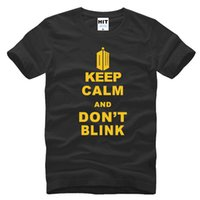 Wholesale Doctor Dot - DOCTOR WHO T Shirt Men Keep Calm And Don't Blink T Shirts Short Sleeve O-Neck Cotton Men Tops Tee Free Shipping SL-594