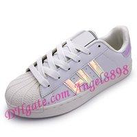 Wholesale Women Dazzling Shoes - New Fashion Men Women Shoes Flat Bottom Plate, Direct Selling Business Laser Dazzle Color Superstar Shoe Casual Shoes Couple Shoe Size 36-44