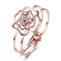 Wholesale 18k Solid White Gold Bangle - 5pcs Solid 18k Rose Gold Plated Bangle Bracelet with Clear Glitter Rhinestone Rose Flower For Woman Wholesale Fashion Noble Simple Jewelry
