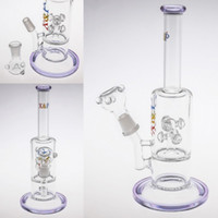 Wholesale Base Cutting - 100% Real Images Purple Bongs Water Pipes Thick Base In-Line to Mushroom Cross Cut Diffused Glass Bongs Recycle Oil Rigs Cheap Hookahs
