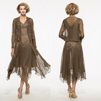 Wholesale Mother Asymmetrical Dress - 2017 New Arrival Asymmetrical Chiffon A Line Mother Of The Bridal Long Sleeve Jacket Embroidery Beaded Cheap Mother Groom Dresses