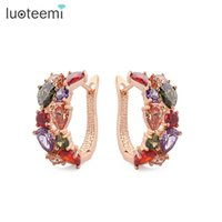 Wholesale Hot Lisa - Hot Selling Fashion Earrings with Multicolour AAA Cubic Zircon stone for Women Mona Lisa Girl Christmas Gift Brincos Jewelry LUOTEEMI