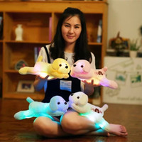 Wholesale Cute Colorful Stuffed Animals - 35cm Cute Creative Plush Dog LED Light Plush Animal Toys Stuffed Colorful Pillows Christmas Gift for Kids
