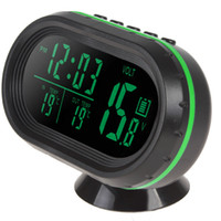 Wholesale Voltage Alert - 10PCS New 12V 24V Auto LED Display Thermometer + Car Voltage Meter + Noctilucous Clock + Freeze Alert CEC_644
