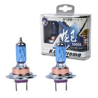Wholesale Blue Halogen Bulbs - 2x100W H7 Car Halogen Fog Light HeadLight DRL HOD Lamp Xenon 5000K Dark Blue Glass Replacement Bulb Car Light Source super