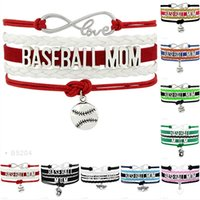Wholesale Wholesale Baseball Mom - Infinity Love Baseball Mom All Stars Baseball glove Heart Charm Bracelets For Women Men Jewelry Red Black Leather Wrap Bracelet