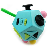 Wholesale Plastic Dice Toy - Fidget Cube 2 Toy Stress Relief 12-side Dice For Adult Girls Boys Gift Magic Anti Irritability Depression Desk Dice AA