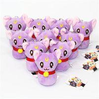 "Wholesale Keychain Cat - Wholesale-[PCMOS] 2016 New Anime Sailor Moon Purple Cat Diana 4""Mini Plush Doll Sandbag Toy Keychain Charm Arcade Prizes 16071505"