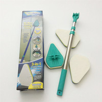 Wholesale Telescopic Plastic Rod - NEW Clean Reach Sponge Scouring Pad Cleaning Brush Three Retractable Rods Window Cleaner Household Cleaning Tools