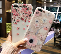 Wholesale Silicon Flowers - 3D Relief Flower Case For iPhone 6 6S iPhone X 10 7 Plus Soft Silicon Phone Cover For iPhone 7 6 6S Case Accessories