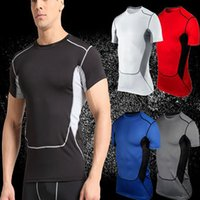 Wholesale Cheap Gym Clothing - 2017 Cheap Gym Clothing Men's Sports Tights PRO Short Long Sleeve Breath Quick Fitness Fitness Basketball Training Wear Sports T-Shirt