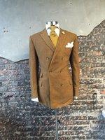 Wholesale Designer Handkerchiefs - Wholesale- Khaki Double Breasted Suits Custome Homme Fashion Tuxedos Designer Suits Handsome Slim Fit Blazer(Jacket+Pant+Tie+Handkerchiefs)