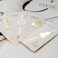 Wholesale Book Supplies - Wholesale- 40 pcs Lot Instrument style bookmarks Music note book mark Gold plated clip Office tool School supplies marcador de livros F145O