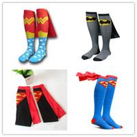 Wholesale Wholesale Calf High Socks - Kids Cartoon Super heros movie cape Soccer Socks Cute mid-calf length sock Cape Knee Highs for cosplay props teenage adult