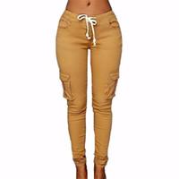 calças femininas venda por atacado-Calças das mulheres 2017 Nova Moda Feminina Calças Sólidos Magro Trecho Calças Com Cordão Verde Vermelho Sexy Clube Pockets Pants Calças