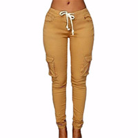 nuevos pantalones de moda de mujer al por mayor-Pantalones de las mujeres 2017 Nueva Moda Pantalones Femeninos Sólido Delgado Stretch Pantalones Con Cordón Verde Rojo Sexy Party Club Bolsillos Pantalones pantalones