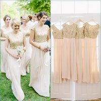 Wholesale Cheap Gold Sparkly Long Dresses - Sparkly Sequined Gold Country Bridesmaid Dresses Cap Sleeve Sexy Long Bridesmaids Dress Cheap Chiffon Wedding Party Gowns