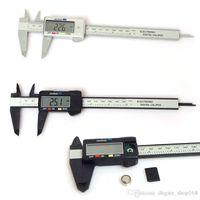 karbon göstergesi toptan satış-150mm 6inch LCD Dijital Elektronik Karbon Elyaf Sürmeli Kaliper Ölçer Mikrometre Plastik Kumpas