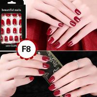 Wholesale Designer Fake Nails - Cheap Fashion Fake Nails False Tips Full Acrylic French Art Designer 24 Pcs Nail Myshine Fashion Better Choice