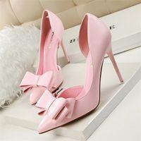chaussures roses à talons hauts achat en gros de-Printemps Été Femmes Pompes Doux Bowknot Chaussures À Talons Hauts Mince Rose Chaussures À Talons Hauts Creux Pointu Stiletto Élégant 22 Couleur