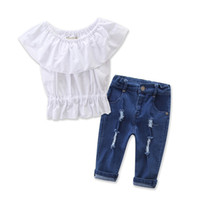 Wholesale Denim Tube - Wholesale 2017 Kids Girls Denim Clothes Baby 2 Pieces Clothing Toddler Summer Sets Children Tube Blouse And Hole Jeans Suit For 2-7T