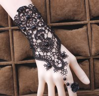 2017 Femmes Gothic Black Beads Lace Vintage Bracelets Lady Party Robe Bijoux Rose Flower Ajustable Anneau Blanc Bridal Bracelets 10PCS