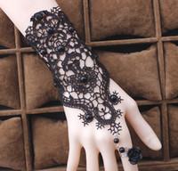 Wholesale Vintage Acrylic Rose Jewelry - 2017 Women Gothic Black Beads Lace Vintage Bracelets Lady Party Dress Jewelry Rose Flower Adjustable Ring White Bridal Bracelets 10PCS
