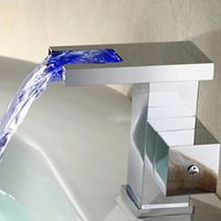 Wholesale Tap Water Color - LED Water Stream Light Faucet Waterfall Bathroom Sink Faucets with Color Changing Mixer Tap