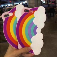 Wholesale Rainbow Cover Mobile - 3D Cartoon Case For iphone 6 6S iphone 7 7 plus Soft Silicone Sunshine Rainbow Mobile Phone Cover Case Colorful Rubber Case free post