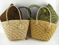 Wholesale Wholesale Crochet Bags - Flower Straw Braid bags New Fashion Crochet Beach bags Big Girls Handbag Rattan Straw Bag 4 Colors C1025