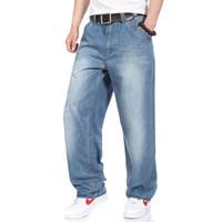 Wholesale Jeans Breeches - Wholesale-2016 Loose hip hop jeans men printed jeans tide men's jeans loose casual fashion breeches HIPHOP hip-hop skateboard
