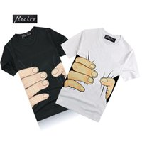 Wholesale Wholesale Long Mens Shorts - Wholesale- Brand New 2016 Summer Mens Casual Short Sleeve Big Hands Funny 3D T Shirt O Neck Fashion Hip Hop Fitness Tee Tops tshirt homme