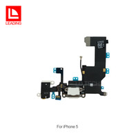 Wholesale Iphone Dock Free Shipping - Charger Charging Port Flex Cable USB Dock Connector for iPhone 5 5s 5c Headphone Audio Jack mic Ribbon fast free shipping