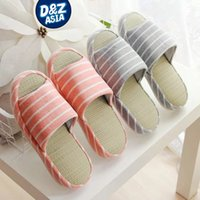 Wholesale Canvas Floor Mats - Wholesale-Millffy Japanese linen couple slippers home floor mat bottom ventilation slippers summer indoor slippers for guests