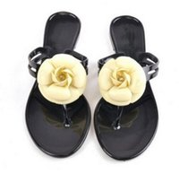Wholesale New Fashion Womens Camellia Flower Jelly Flat Sandals Ladies Sexy T Strap Summer Beach Slippers Shoes Black Beige Flip Flops