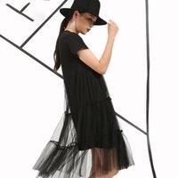 yeni moda net elbiseler toptan satış-2017 Bahar Moda Yeni stil Gevşek Sahte iki kısa kollu Dantel düz elbise ince Net Iplik Tatlı Büyük boy kadın