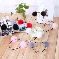Wholesale Tiara Cat Ears - For Winter Sweet Girls Cute Rabbit Plush Big Hair Ball Headband Hoop Cat Ears Hairband Tiara Hair Accessories For Kids 16PCS