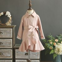 Wholesale Girls Trench Coat Princess - Everweekend Girls Ruffles Double Breast Trench Jackets Autumn Winter Pink Green Color Western Princess Outwears Coats