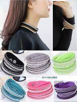 leder strass armband großhandel-Frauen Kristall Strass Slake Deluxe Leder Wrap Armband Manschette Punk Armband Armreifen Fit Party Beste Geschenk 15 farben