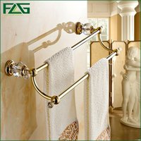 Wholesale Crystal Towel Rack - FLG Free Shipping Bathroom Accessories Wall Mounted Crystal Golden Double Towel Bar Wholesale Towel Bar Bath Towel Rack G402