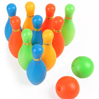 Wholesale New Arrival cm Height Kids Plastic Mini Bowling Set Pins Balls Casual Sports Game Toys Random Color VE0239