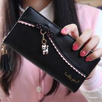 Wholesale Cards Two Folds - Fashion bow lace embossing women wallet cute small pendant wallet for women long zipper tassel women purse two fold phone wallet