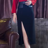 Wholesale Dress Autumn Women Korean - 2016 autumn women dress new style Korean long spell leather skirt bag hip skirt