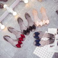 Wholesale Open Toe Transparent Shoes - PVC Sandals Women Open Toe Blue Red Pink Black Bowtie Summer Shoes Woman 2017 New Transparent Flat Sandals Casual All Match Drop Shipping